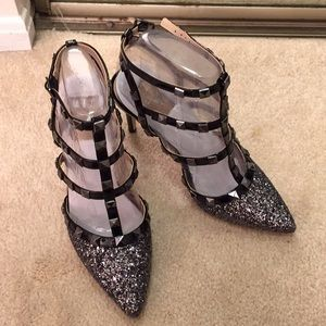 Mix No.6 glitter/black heels. Fit 7
